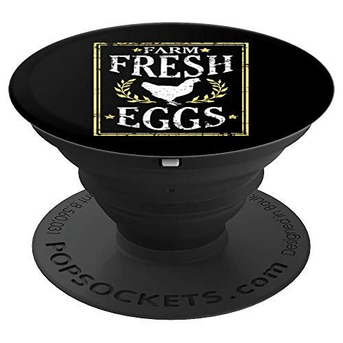 Farm Fresh Eggs Chicken Hen Poster Yellow Distressed Design - PopSockets Grip and Stand for Phones and Tablets ()