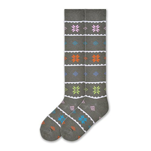 K. Bell Brand Nordic Snowflake Wool Knee Highs Sock, Size: 9-11 comes with a Helicase Brand Sock Ring