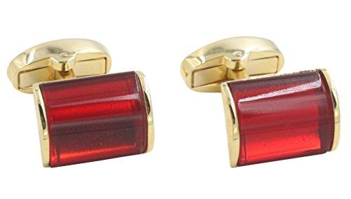 (AUSCUFFLINKS 40th Anniversary Ruby Wedding Gift Husband   Cufflinks Gold Edge Red Cuff)