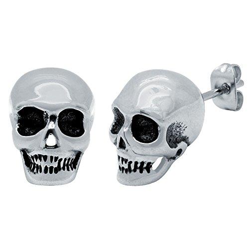 Soul-Cats® 1 paire de crâne Studs Crâne en acier inoxydable Skull