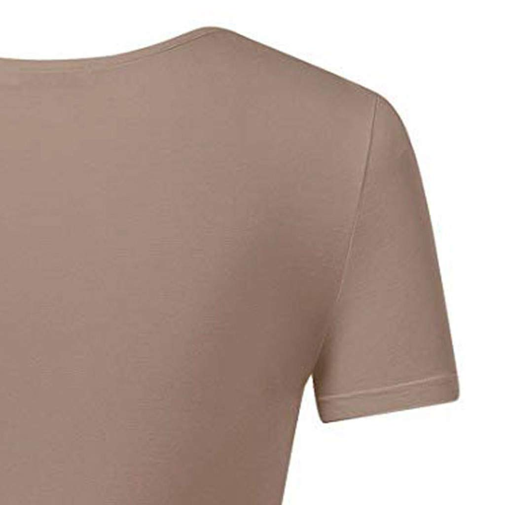 Crop Tops for Women BXzhiri Deep V Neck Short Sleeve Unique Slim Fit Coss Wrap Shirts Khaki by Bxzhiri_Women Tops (Image #4)