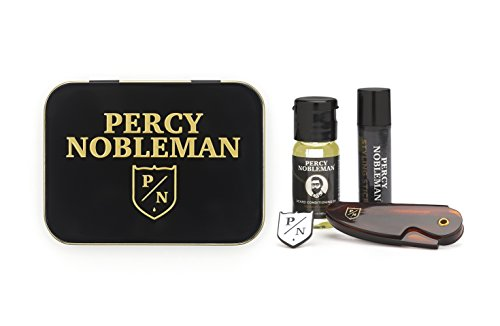 Gufts For Him - Beard Grooming Kit by Percy Nobleman, A Travel Tin Including a Beard Oil, Beard Comb, Styling Wax and Percy Nobleman Badge