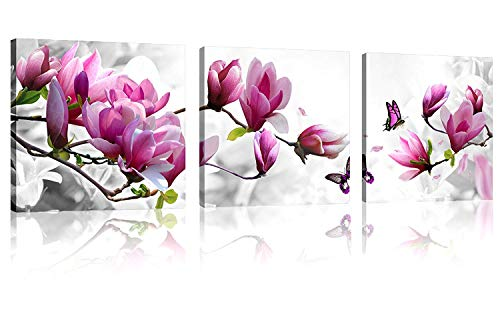 Natural art - Pink Flowers with Butterfly 3 Panels Stretched Canvas Wooden Framed Wall Art (And Art Wall Butterflies Flowers)
