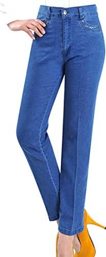 Vska Women Fashion Slim Fit Retro Stretch High Waist Jeans