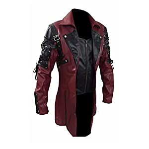 Mens Red Goth Matrix Trench Coat Steampunk Gothic of Month