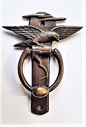 Antique Vintage Style Brass American Bald Eagle Door Knocker Banger with Spread Wings 5 5/8