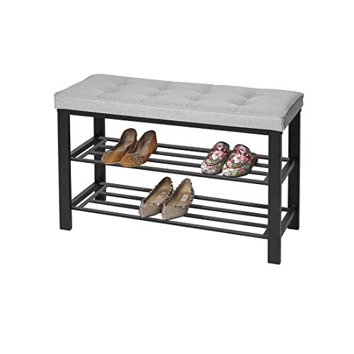 Seville Classics 2-Tier Tufted Cushion Seat 6-Pair Metal Shoe Rack Bench (Holds up to 440 lbs.) Entryway Hallway Living Room Upholstered Storage Shelf, 3, Gray