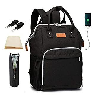 Diaper Bag Backpack, SpringBuds Travel Back Pack Nappy Changing Bags with USB Charging Port