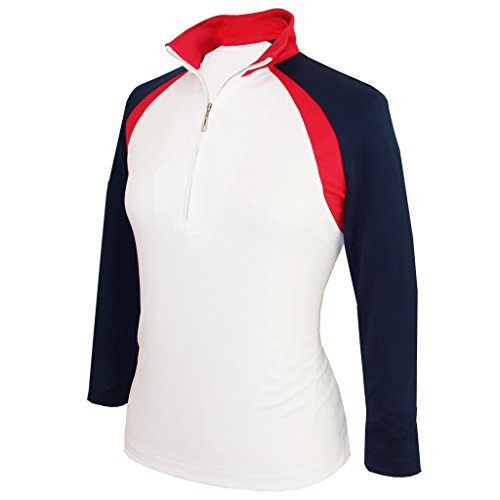 Monterey Club Ladies Dry Swing Double Colorblock Stand-up Collar 3/4 Sleeve Shirt #2357 (White/Navy/Red, X-Large)
