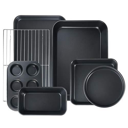 S·KITCHN Bakeware Set Nonstick Baking Set Including Loaf Pan Pie Pan Roasting Pan Baking Sheet with Rack 6-Cup Muffin…