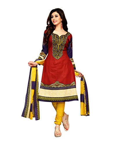 Dfolks Women's Cotton Printed Unstitched Dress Material (Red)