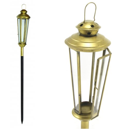 Tealight Votive Candle Torch Lantern Lamp on Stake, Metal Glass, Antique Brass, 33-inch, Set of - Brass Antique Votives