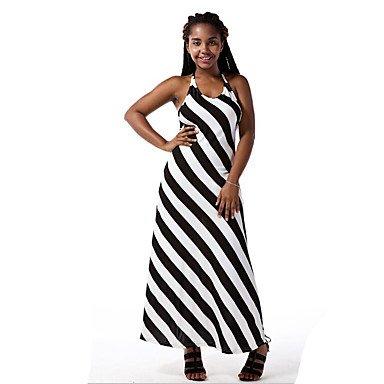 PU&PU Robe Aux femmes Gaine Sexy / Chic de Rue,Rayé Col en U Maxi Polyester , black , s