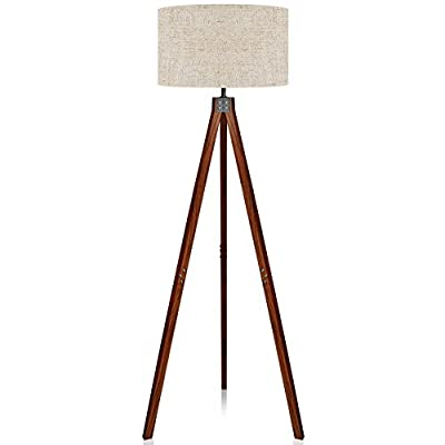 LEPOWER Wood Tripod Floor Lamp, Mid Century Standing Lamp, Modern Design Studying Light for Living Room, Bedroom, Study Room and Office, Flaxen Lamp Shade with E26 Lamp Base - HIGH QUALITY MATERIAL: The lamp is integrated with high-quality Nature Rubber wood tripod, which is enduring, durable and aesthetic. It's sturdy design makes it wobble free and safe to have around children and pets. STYLISH DESIGN: LEPOWER wooden tripod torchiere lamp fits in modern architecture and decor. It has a unique stem with three wooden holders that makes the lamp stable enough. It's rounded linen lamp shade looks gorgeous and modern in almost any room in your home or office. BULB REQUIREMENTS: Bulb is not included in the package. With an E26 sized screw base, the bulb can be installed as desired. To avoid overheating, we suggest you using LED bulb 10W-12W, energy saving bulb 12W-20W, incandescent bulb 40W-60W (60W MAX) - living-room-decor, living-room, floor-lamps - 41fmn5aPS1L. SS400  -