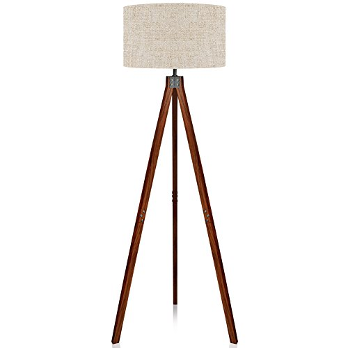 - LEPOWER Wood Tripod Floor Lamp, Flaxen Lamp Shade with E26 Lamp Base, Modern Design Reading Light for Living Room, Bedroom, Study Room and Office