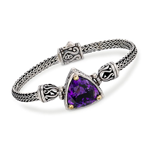 Ross-Simons Balinese 12.00 Carat Amethyst Bracelet in Sterling Silver With 18kt Gold -