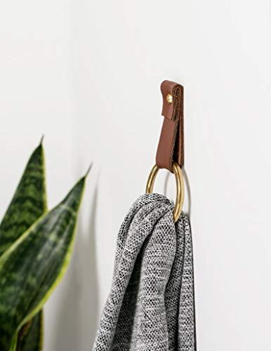 small leather strap brass ring wall hook wall hanging storage towel hook modern bathroom towel rack leather loop strap holder scarf hanger