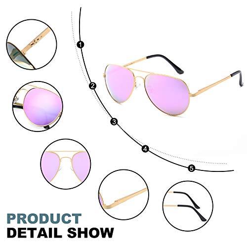 UVA Espejo Gafas Polarizadas 100 Marco Sol Marco Dorado Metal de Rosado UVB Mujer Lense Aviador de Protección qTwSTvI
