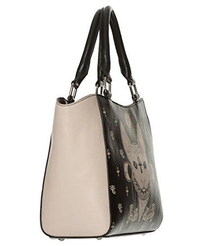 Banned Black Cat Tote Cream Handbag Alternative Sphynx Bastet Bag qOOw4FA