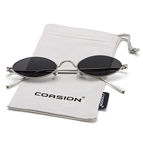 Vintage Small Oval Sunglasses for Women Men Hippie Cool Metal Frame Sun Glasses (Silver Frame/Black Lens)