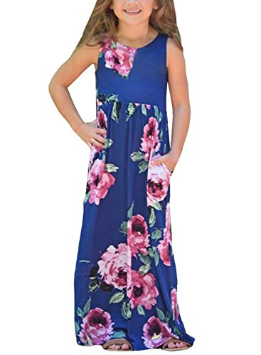 c00802d0cb4 Azokoe Maxi Dress for Girls Big Girls Summer Sundresses Plus Size Floral Casual  Loose High Waist Long Maxi Beach Party Dresses Sundress Size 10 11