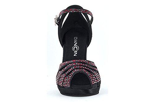 """Scarpa Da Ballo """"Ardiente"""" con plateau FlexFree, in raso nero , con Crystal Strass rossi e neri tacco 10 cm"""