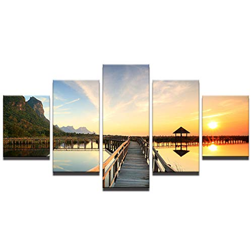 LXDWLH 5 Panel Modern Modular Printable Frames Pictures Sunset Wall Art for Living Room Home Decoration Artworks Bridge Canvas Prints Frameless -