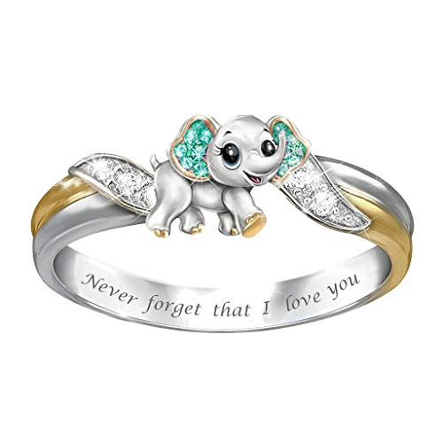 Mother's Day Ring Animal Shaped Women Wedding Party Jewelry Size 5-10 (A,8)
