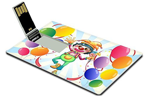 [MSD 16GB USB Flash Drive 2.0 Memory Stick Credit Card Size Image ID 19301628 Illustration of a clown in the middle of the balloons with flowers on a white] (Amusement Clown Costume)