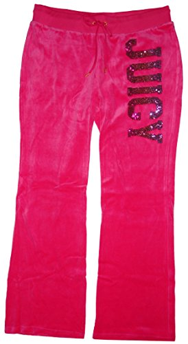 Juicy Couture Womens Velour Sequin Logo Sweatpants Magenta (Large) (Juicy Velour Couture Lounge Pants)