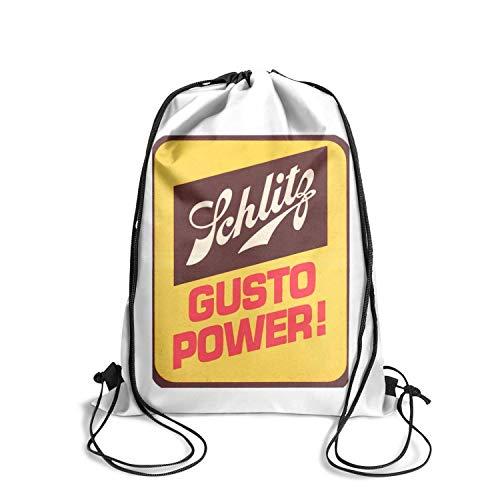 Jdadaw Schlitz-Beer-Gusto-Power- Drawstring Backpack Printted Sackpack