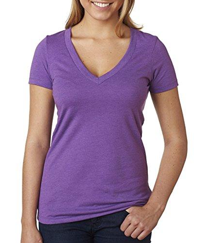 Womens Fitted Baby Rib Tee - Next Level Baby Rib Knit Deep V-Neck T-Shirt, Purple Berry, XX-Large