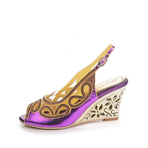 Tacón Diamantes Color de Abierta Zapatos de tamaño Pendiente de Sandalias de de Zapatos 34 Verano Sandalias Mujer Punta de imitación de Alto Boca Púrpura Zapatos de Hueca tacón SqCgq1vY