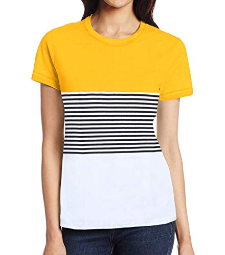 - Miracle(Tm) Womens Color Block Striped Shirt - Women Casual Stripe Yellow White T Shirt (XL)