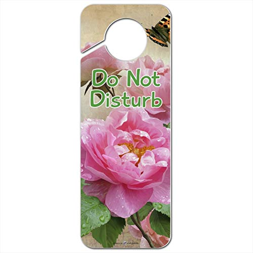 GRAPHICS & MORE Pink Roses and Butterly Do Not Disturb Plastic Door Knob Hanger Sign