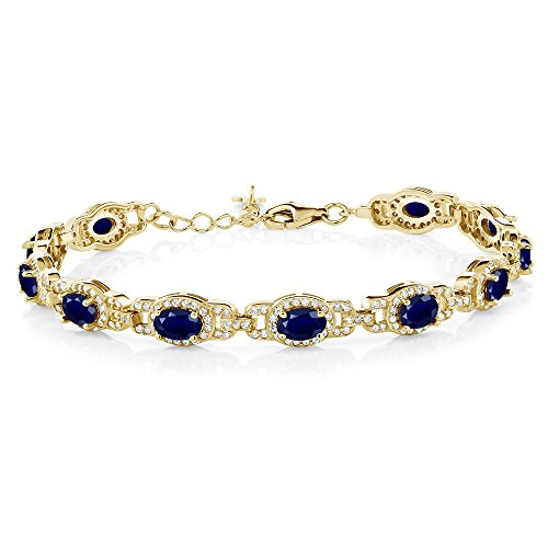 Gem Stone King 9.65 Ct Oval Blue Sapphire 18K Yellow Gold Plated Silver 7 Inch Bracelet With 1 Inch Extender (18k Blue Sapphire Bracelet)