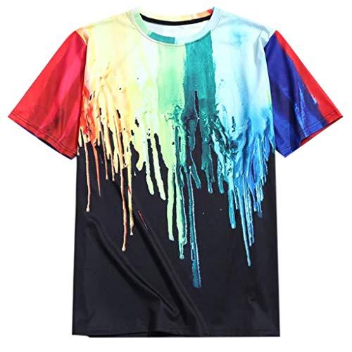 (VICCKI Men Summer Fashion Casual Printing Short-Sleeve Color Splashing-Ink T-Shirt Tops)
