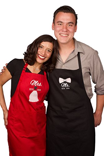 Mr Mrs Anniversary Apron Gift - Year 2018 - Man and Women 2 Piece Set - Perfect for engagements, weddings, happy anniversaries, bridal showers, valentines day by 2MU by 2MU (Image #2)
