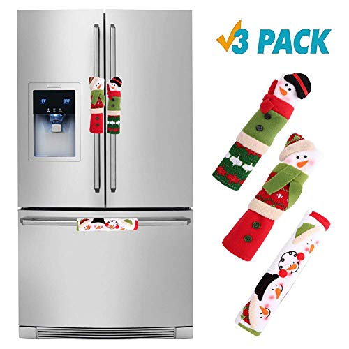 Christmas Snowman Handle Covers 3Pcs, Sepanda Kitchen Appliance Snowman Door Handle Protector Anti-Static Xmas Decoration Idea for Refrigerator Microwave Oven Dishwasher (Humorous Nose Version)