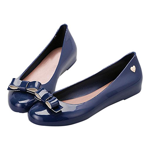 slip Flat Jelly Non Ladies Meijunter RainBoots Waterproof Mouth Shoes Womens Bow DarkBlue Shallow Ew0xqp
