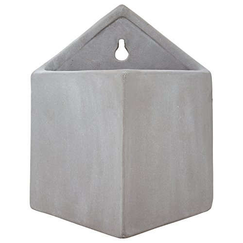 Rivet Modern Pyramid Indoor Outdoor Hanging Wall Mounted Planter Pot - 7.5 Inch, Grey