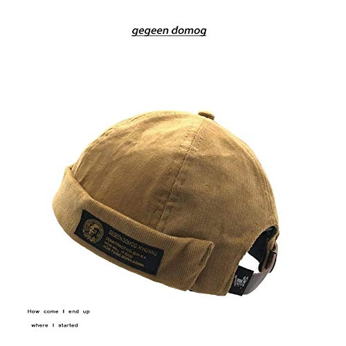 Evetin Vintage Unisex Cotton Watch Cap Commando Work Beanie Corduroy Docker  Leon Brimless Hat Rolled Cuff Harbour Hat A004 (Khaki) c7bc0055281c