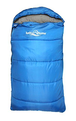 Lucky Bums Compact Lightweight Muir Spring Summer Fall Sleeping Bag Youth 40°F/5°C with Digital Accessory Pocket Compressing Carry Bag Included, Blue, 50.