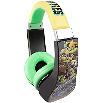 Teenage Mutant Ninja Turtles 30365 Kid Safe Over the Ear Headphone with Volume Limiter, Full Range Stereo Sound, Cushioned ear pieces deliver crisp, rich sound, Black/ Yellow/ Green