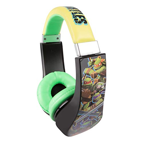 (Teenage Mutant Ninja Turtles 30365 Kid Safe Over the Ear Headphone w/ Volume Limiter by Sakar,, Full Range Stereo Sound, Cushioned ear pieces deliver crisp, rich sound, Black/ Yellow/ Green)