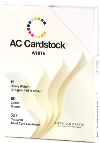 5 x 7-inch White AC Cardstock Pack by American Crafts | Includes 60 sheets of heavy weight, textured white cardstock -