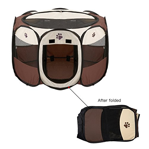 Machao Pet Foldable Exercise Kennel Dogs Cats Rabbits Pigs Indoor/outdoor Removable Tent Playpens Mesh-Brown