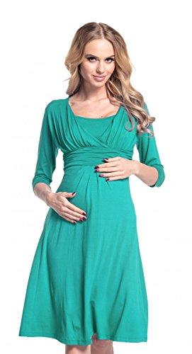Happy Mama. Para Mujer Vestido Skater premamá y de lactancia. 526p Verde Azulado