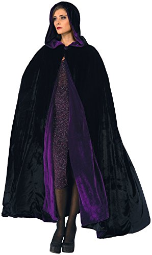 Forum Novelties Purple Black Reversible Hooded Velvet Cloak, Purple/Black, One Size -