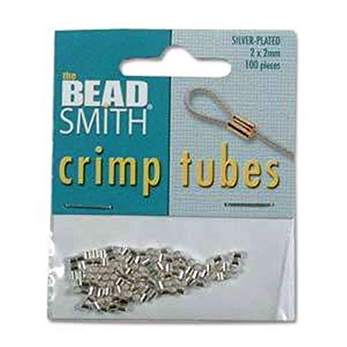 Real Silver Plated Crimp Beads 2x2mm (100 Crimps) (Crimp Tubes Silver)